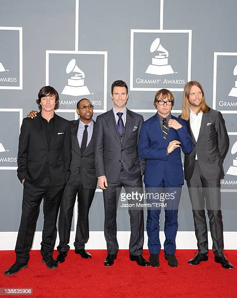 Musicians Matt Flynn PJ Morton Michael Madden Adam Levine and James Valentine of Maroon 5 arrive at the 54th Annual GRAMMY Awards held at Staples...
