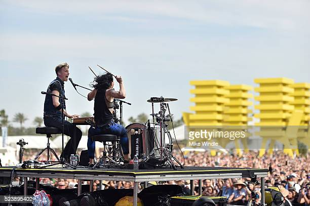Musicians Matt Johnson and Kim Schifino of Matt and Kim perform onstage during day 3 of the 2016 Coachella Valley Music Arts Festival Weekend 2 at...