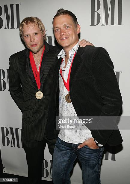 Musicians Matt Roberts and Brad Arnold of the band Three Doors Down attend the 53rd Annual BMI Pop Awards on May 17 2005 in Beverly Hills California