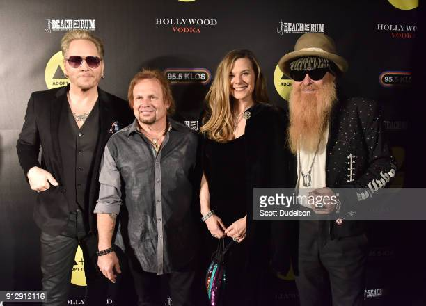 Musicians Matt Sorum Michael Anthony Gilligan Stillwater and Billy Gibbons attend the Adopt the Arts annual rock gala at Avalon Hollywood on January...