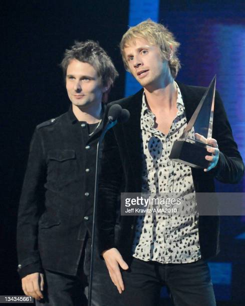 Musicians Matthew Bellamy and Dominic Howard of Muse accept the Alternative Rock Music Favorite Artist award onstage at the 2010 American Music...