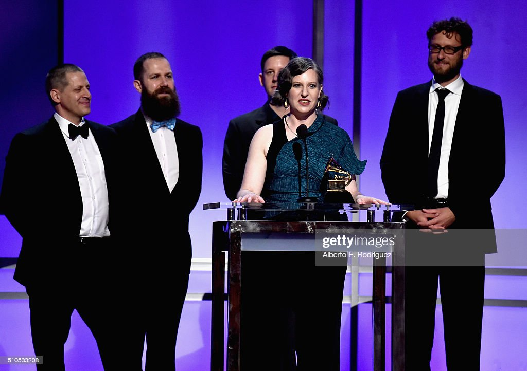Musicians (L-R) Matthew Duvall, Michael J. Maccaferri, Nicholas Photinos, Lisa Kaplan, and Tim Munro of Eighth Blackbird accept the award for Best Chamber Music/Small Ensemble Performance award for 'Filament' onstage during the GRAMMY Pre-Telecast at The 58th GRAMMY Awards at Microsoft Theater on February 15, 2016 in Los Angeles, California.
