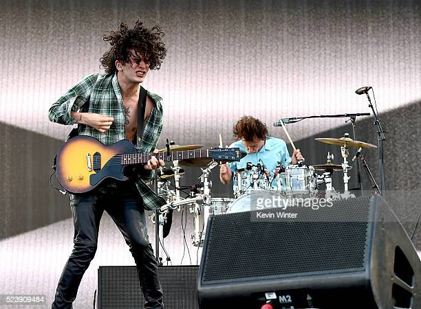 Musicians Matthew Healy and George Daniel of The 1975 perform onstage during day 3 of the 2016 Coachella Valley Music Arts Festival Weekend 2 at the...