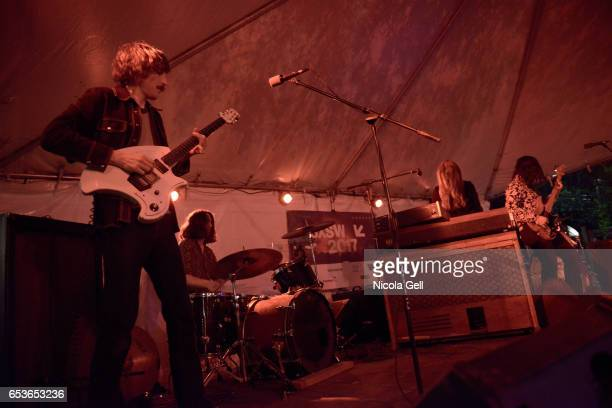 Musicians Matthew Melton Doris Melton and Rudy Spencer of Dream Machine performs onstage during Good Vibes Desert Daze Foro Indie Rocks during 2017...