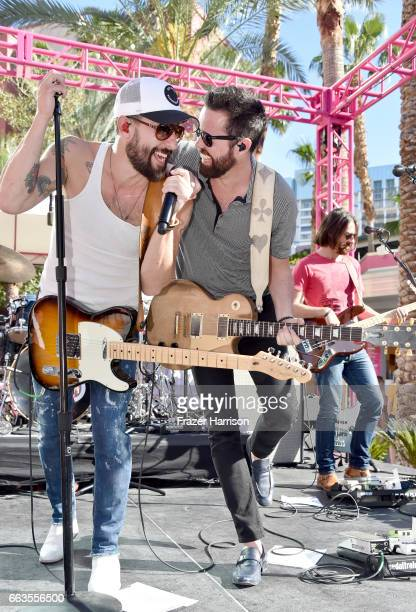 Musicians Matthew Ramsey and Brad Tursi of Old Dominion at the ACM Pool Party For A Cause on April 1 2017 in Las Vegas Nevada
