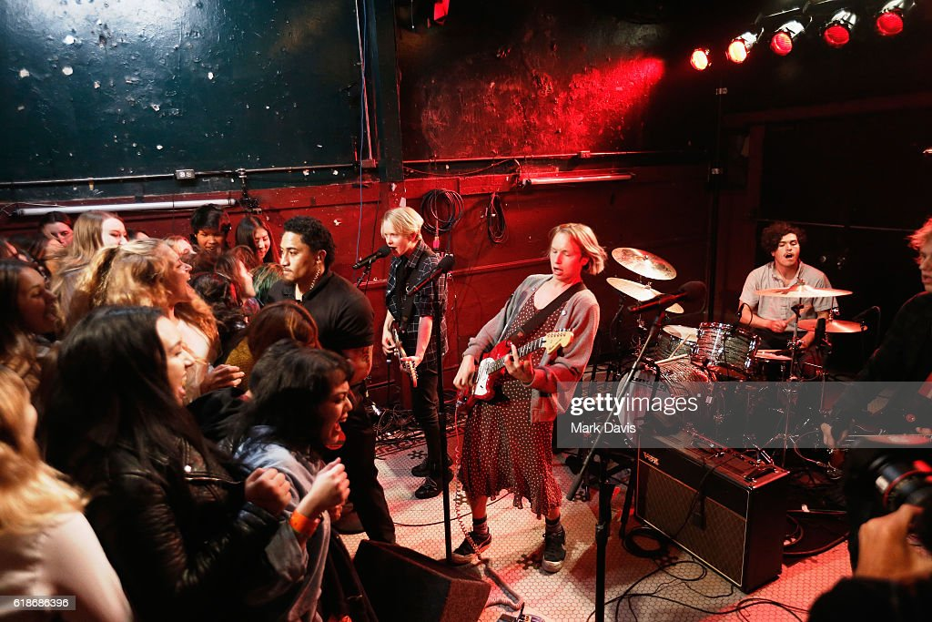Musicians Max Becker, Cole Becker, and Joey Armstrong of SWMRS perform onstage at MTV's 'Wonderland' LIVE Show on October 27, 2016 in Los Angeles, California.
