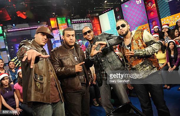 Musicians Max Santos Lenny Santos Anthony Santos and Henry Santos Jeter of the bachata pop band Aventura visit MTV's Mi TRL at MTV studios on...