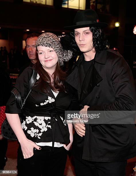 Musicians Meg White and Jack White attend the The White Stripes Under Great White Northern Lights screening held at Elign Theatre during the 2009...