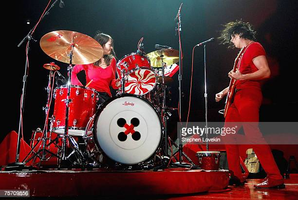 Musicians Meg White and Jack White of the White Stripes performing at Madison Square Garden on July 24th 2007 in New York City