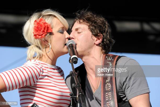 Musicians Meghan Linsey and Joshua Scott Jones of Steel Magnolia perform onstage during 2011 Stagecoach California's Country Music Festival at the...