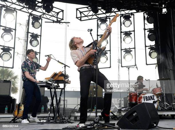 Musicians Miaoux Miaoux Alex Kapranos and Paul Thomson of Franz Ferdinand perform at the Katz's Stage during 2017 Hangout Music Festival on May 21...