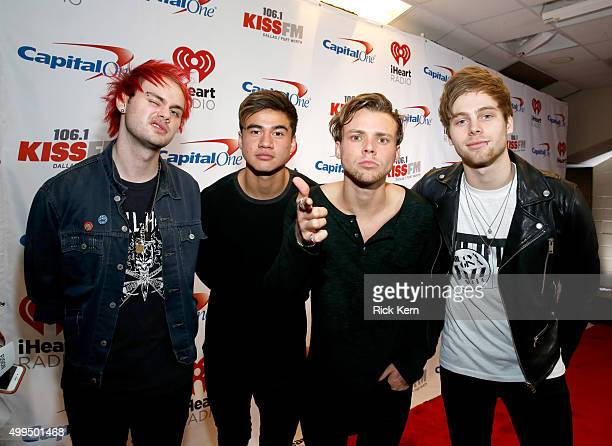 Musicians Michael Clifford Calum Hood Ashton Irwin and Luke Hemmings of musical group 5 Seconds of Summer attend 1061 KISS FM's Jingle Ball 2015...