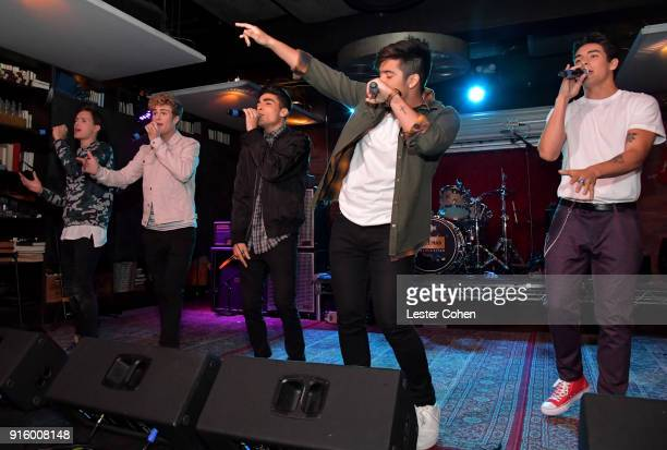 Musicians Michael Conor Brady Tutton Drew Ramos Sergio Calderon and Chance Perez of In Real Life perform on February 7 2018 in Los Angeles California