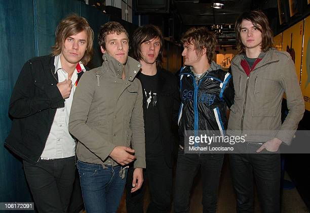 Musicians Michael Guy Chislett Andy Mrotek Mike Carden Adam Siska and William Beckett of The Academy Is appear on MTV's TRL at MTV's Times Square...