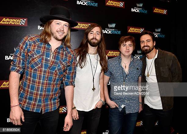 Musicians Michael Hobby Graham Deloach Bill Satcher and Zach Brown of A Thousand Horses attend Westwood One Presents #WWOBackstage @ 51st ACMs at MGM...