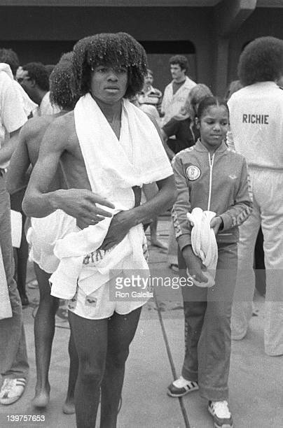 Musicians Michael Jackson and Janet Jackson attend First Annual Rock and Roll Celebrity Sports Classic on March 10 1977 at the University of...