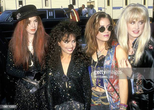 Musicians Michael Steele Susanna Hoffs Vicki Peterson and Debbi Peterson of The Bangles attend the Fifth Annual MTV Video Music Awards on September 7...