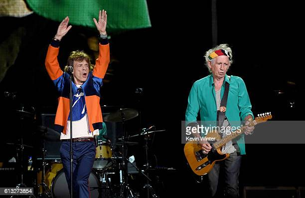 Musicians Mick Jagger and Keith Richards of The Rolling Stones perform onstage during Desert Trip at the Empire Polo Field on October 7 2016 in Indio...
