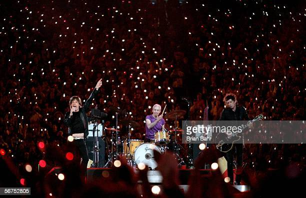 Musicians Mick Jagger Charlie Watts and Keith Richards of The Rolling Stones perform during the Sprint Super Bowl XL Halftime Show at Super Bowl XL...