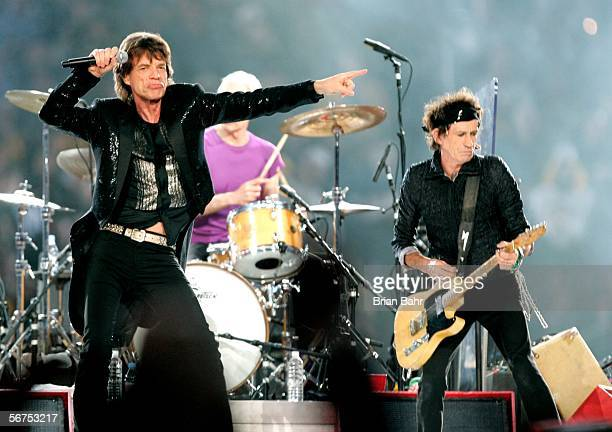 Musicians Mick Jagger Charlie Watts and Keith Richards of The Rolling Stones perform during the 'Sprint Super Bowl XL Halftime Show' at Super Bowl XL...