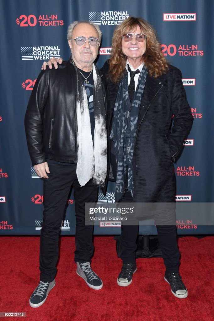 Musicians Mick Jones of Foreigner and David Coverdale of Whitesnake attend Live Nation's celebration of the 4th annual National Concert Week at Live Nation on April 30, 2018 in New York City.