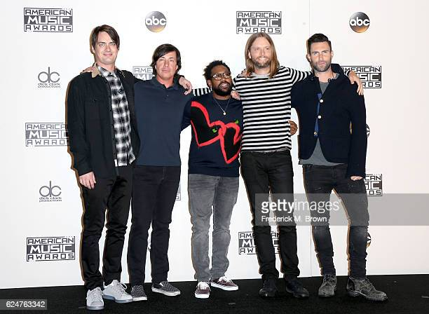 Musicians Mickey Madden Matt Flynn PJ Morton James Valentine and Adam Levine of Maroon 5 pose in the press room during the 2016 American Music Awards...