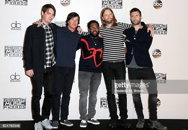 Musicians Mickey Madden Matt Flynn PJ Morton James Valentine and Adam Levine of Maroon 5 pose in the press room during the 2016 American Music Awards...