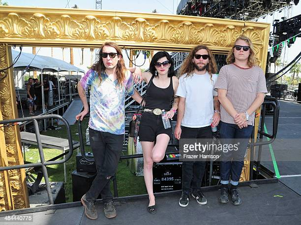 Musicians Mikal Cronin Emily Rose Charlie Moothart and Ty Segall pose onstage during day 2 of the 2014 Coachella Valley Music Arts Festival at the...