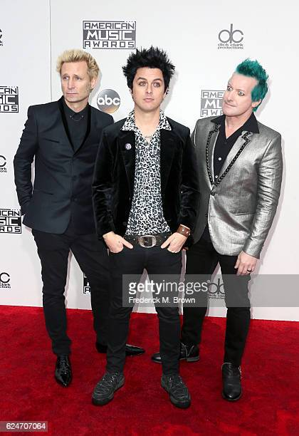 Musicians Mike Dirnt, Billie Joe Armstrong and Tré Cool of Green Day attends the 2016 American Music Awards at Microsoft Theater on November 20, 2016...