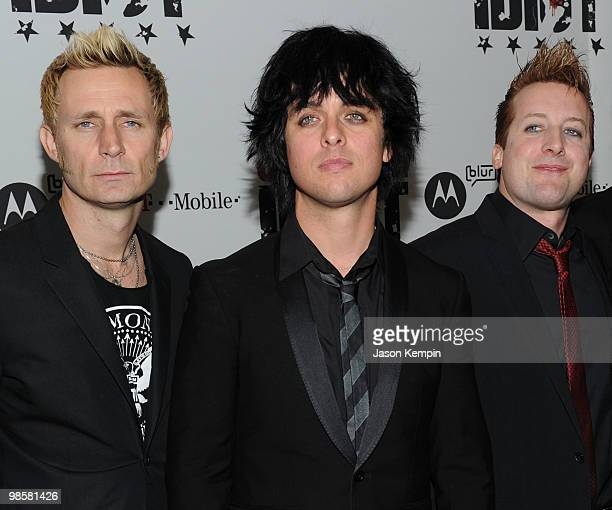 Musicians Mike Dirnt Billie Joe Armstrong and Tre Cool attend the Broadway Opening of American Idiot at the Roseland Ballroom on April 20 2010 in New...