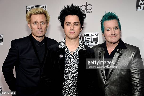 Musicians Mike Dirnt Billie Joe Armstrong and Tre Cool of Green Day attend the 2016 American Music Awards at Microsoft Theater on November 20 2016 in...