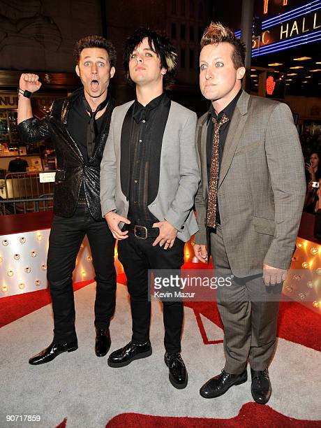 Musicians Mike Dirnt Billie Joe Armstrong and Tre Cool of Green Day attend the 2009 MTV Video Music Awards at Radio City Music Hall on September 13...