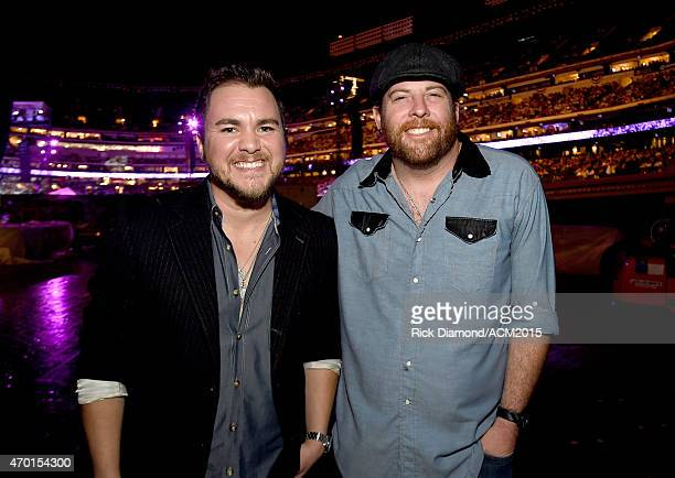 Musicians Mike Eli and James Young of the Eli Young Band attend ACM Presents Superstar Duets at Globe Life Park in Arlington on April 17 2015 in...