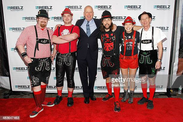 Musicians Mike Franklin Paul Coates Jake Kouwe Emily Burke and Pops Magooch of The Chardon Polka Band pose with CEO of Reelz Stan E Hubbard at the...