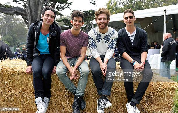 Musicians Mike Kamerman Joseph Intile Sean Scanlon and Beau Kuther of the band Smallpools pose backstage during Chipotle's Cultivate San Francisco...