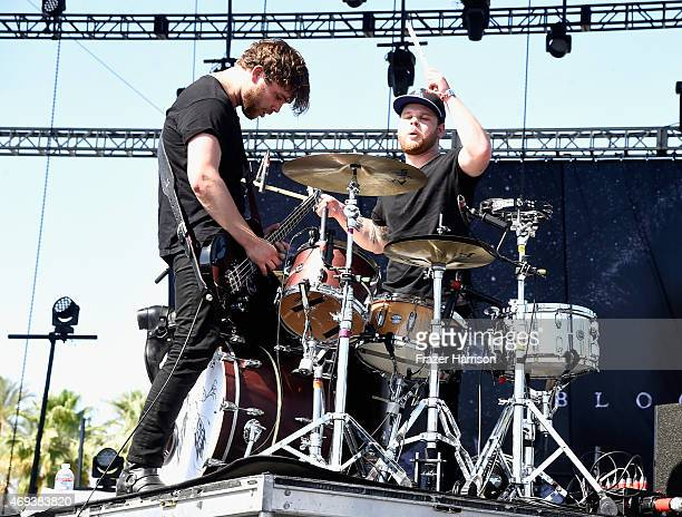 Musicians Mike Kerr and Ben Thatcher of Royal Blood perform onstage during day 2 of the 2015 Coachella Valley Music Arts Festival at the Empire Polo...