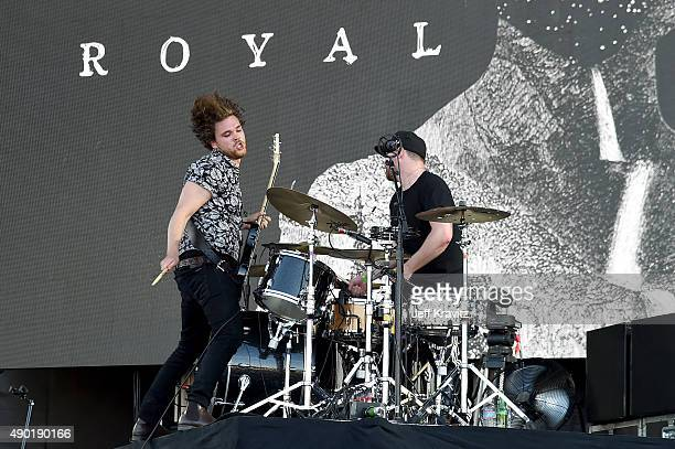 Musicians Mike Kerr and Ben Thatcher of Royal Blood perform onstage during day 2 of the 2015 Life is Beautiful festival on September 26 2015 in Las...