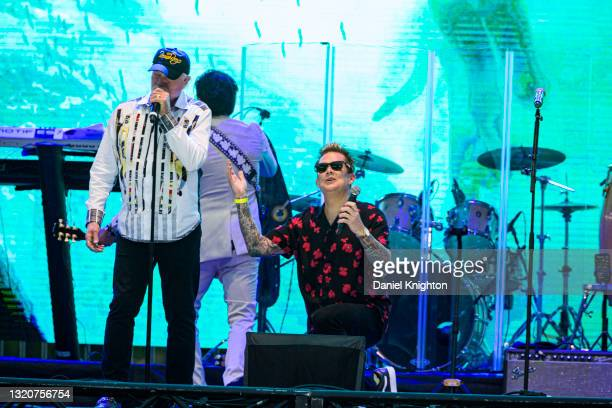 Musicians Mike Love and Mark McGrath of The Beach Boys perform on stage at PETCO Park on May 29, 2021 in San Diego, California.