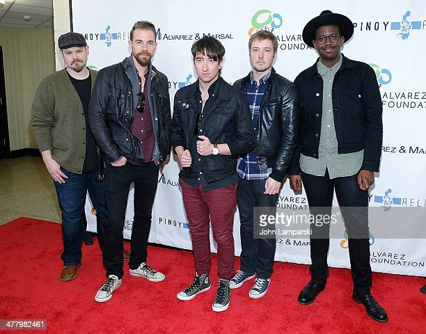 Musicians Mike Retondo, Tim Lopez,Tom Higgenson, Dave Tirio and De Mar Hamilton of the group Plain White T's attends the Pinoy Relief Benefit concert...