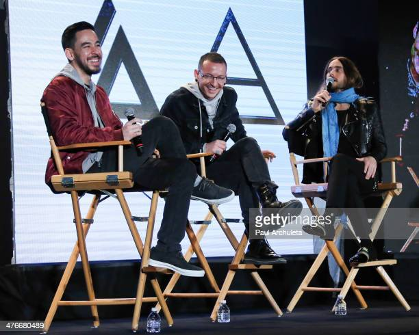 Musicians Mike Shinoda Chester Bennington and Jared Leto attend the press conference to announce the tour of Linkin Park Thirty Seconds To Mars and...