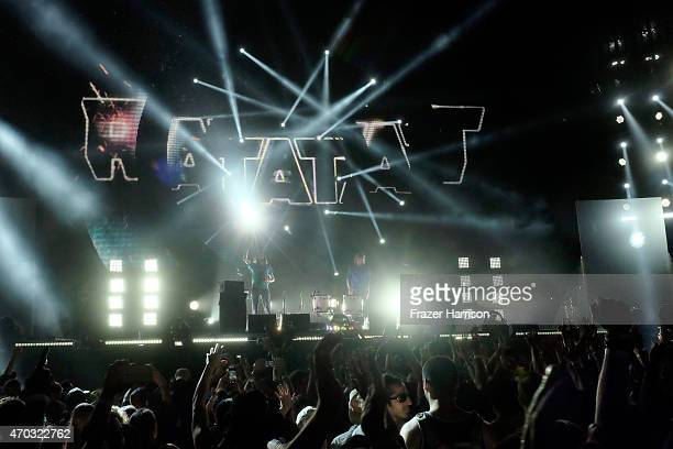Musicians Mike Stroud and Evan Mast of Ratatat performs onstage during day 2 of the 2015 Coachella Valley Music And Arts Festival at The Empire Polo...