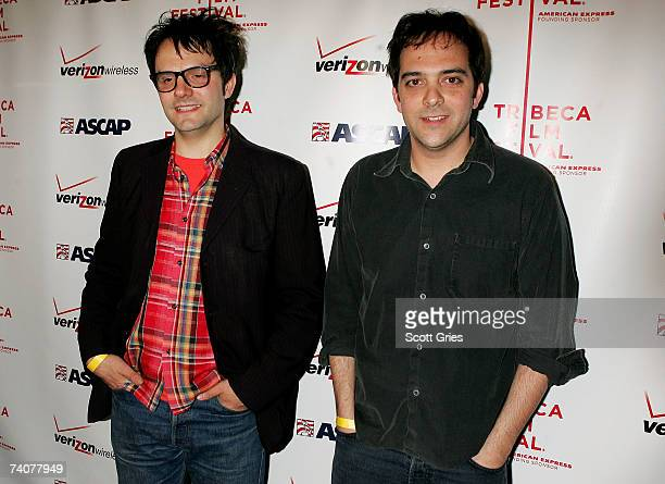 Musicians Mike Viola and Adam Schlesinger pose for a photo at the ASCAP / Tribeca Music Lounge at The 2007 Tribeca Film Festival on May 4 2007 in New...