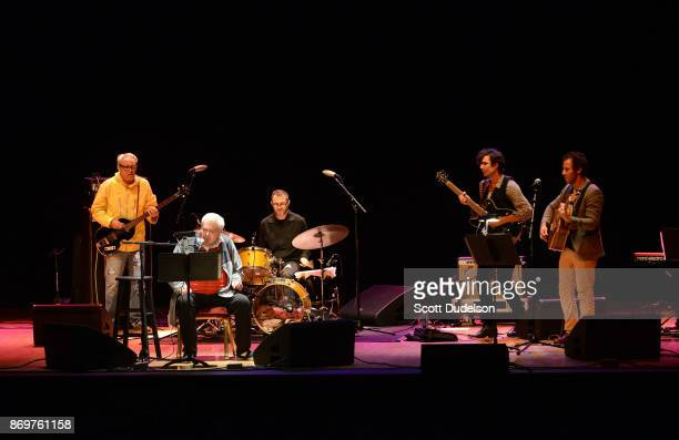 Musicians Mike Watt Daniel Johnston Joey Waronker Guy Blakeslee and Ben Lee perform onstage at The Orpheum Theatre on November 2 2017 in Los Angeles...
