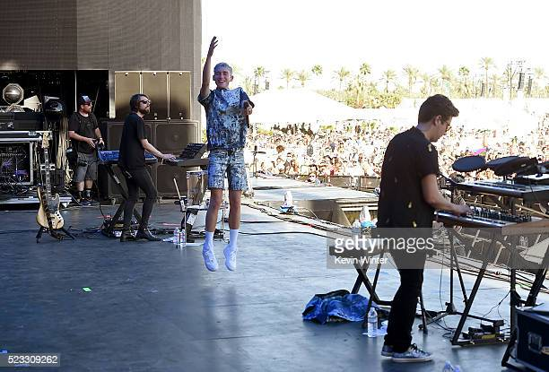 Musicians Mikey Goldsworthy Olly Alexander and Emre T��rkmen of Years Years perform onstage during day 1 of the 2016 Coachella Valley Music Arts...