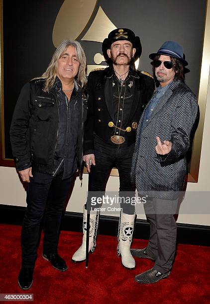 Musicians Mikkey Dee Ian Fraser Kilmister and Phil Campbell of Motorhead attend The 57th Annual GRAMMY Awards at the STAPLES Center on February 8...