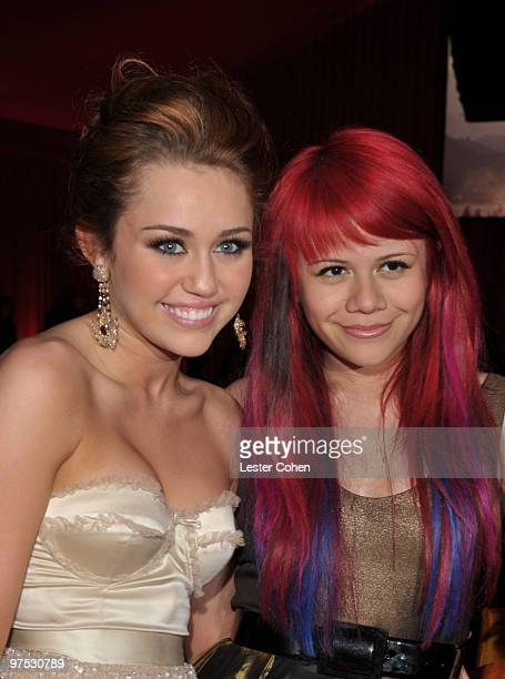 WEST HOLLYWOOD CA MARCH 07 *EXCLUSIVE ACCESS PREMIUM RATES APPLY* Musicians Miley Cyrus and Allison Iraheta attend the 18th Annual Elton John AIDS...