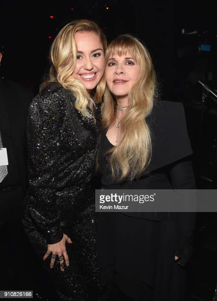 Musicians Miley Cyrus and honoree Stevie Nicks of Fleetwood Mac attend MusiCares Person of the Year honoring Fleetwood Mac at Radio City Music Hall...