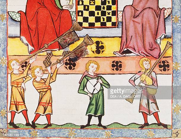 Musicians miniature from Manesse Code manuscript folio 13 recto Germany