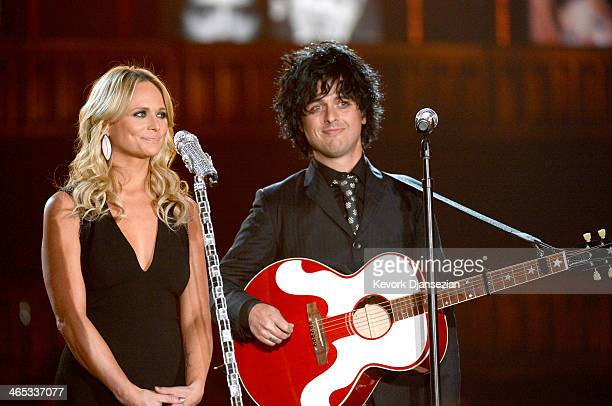 Musicians Miranda Lambert and Billie Joe Armstrong perform onstage during the 56th GRAMMY Awards at Staples Center on January 26 2014 in Los Angeles...