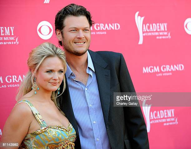 Musicians Miranda Lambert and Blake Shelton arrives at the 43rd annual Academy Of Country Music Awards held at the MGM Grand Garden Arena on May 18...